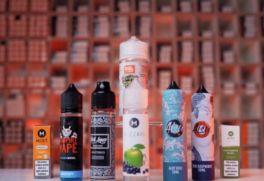 a picture of different eliquid vape juices