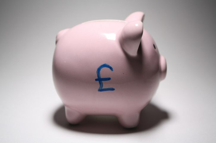 pink piggy bank with british pound symbol